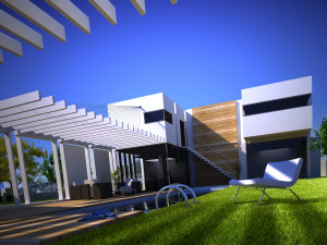 3D rendering of a design house with modern swimming pool